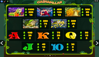 Cashapillar Slot paytable